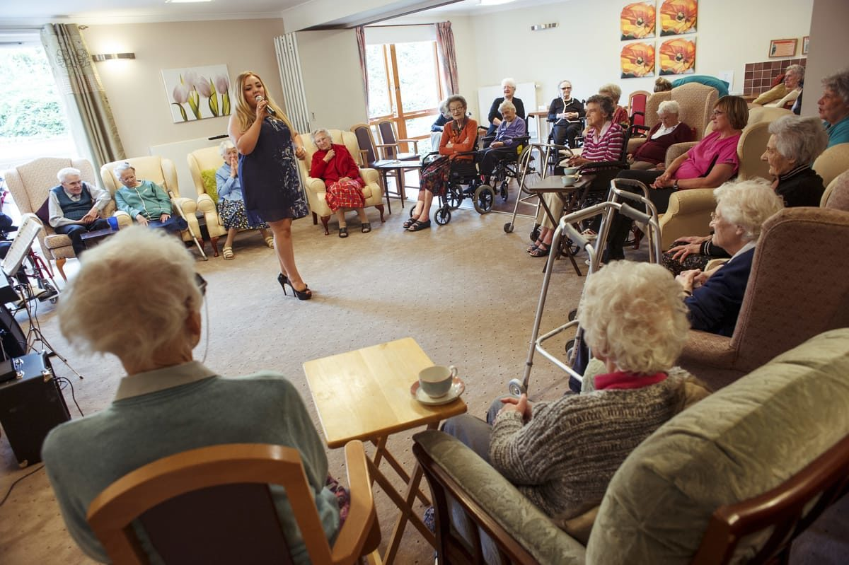 We organise activities to entertain elderly in care homes.